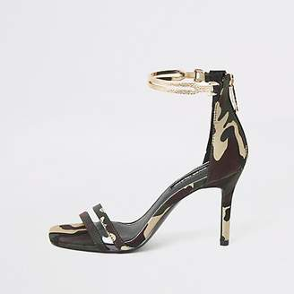 River Island Green camo high heel gold ankle cuff sandal