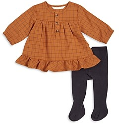 Firsts by petit lem Girls' Long Sleeve Dress & Tights Set - Baby