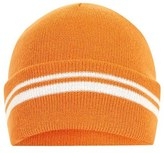Topshop Women's Stripe Knit Beanie - Orange