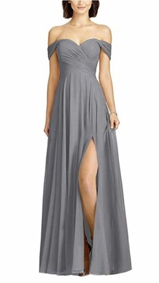 Leader Of The Beauty Women's Off The Shoulder Grey Chiffon Prom Dresses Long Side-Slit Party Evening Gowns Wedding Dresses UK20