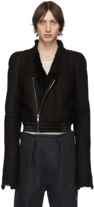 Rick Owens Black Shearling Zionic Bomber Jacket