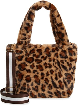 Bari Lynn Plush Leopard Print Faux Fur Crossbody Bag