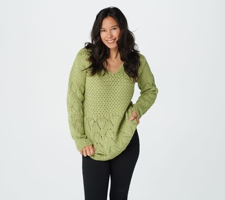 Aran Craft Merino Wool Pullover Sweater with Lace Details
