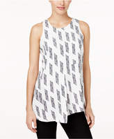 Alfani Petite Printed Asymmetrical-Hem Blouse, Only at Macy's