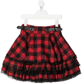 John Richmond Junior Tartan Ruffle Skirt