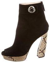 Prada Snakeskin-Trimmed Platform Boots