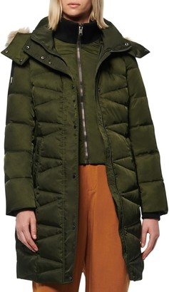 Andrew Marc Malabar Bib Front Faux Fur Trim Quilted Puffer Jacket