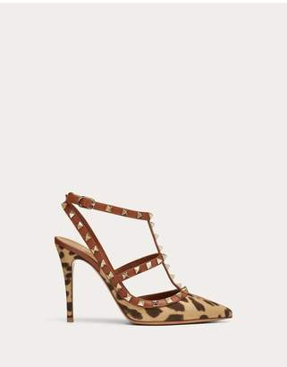 Valentino Garavani Rockstud Leopard Print Canvas Pump With Straps 100 Mm