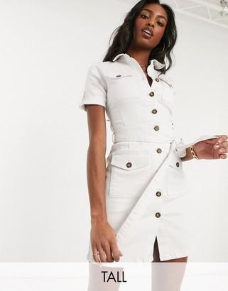 Parisian Tall denim shirt dress with tie waist in white