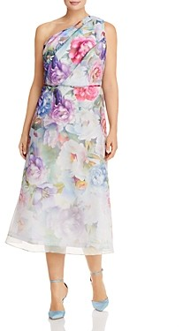 Adrianna Papell One-Shoulder Floral Print Organza Dress