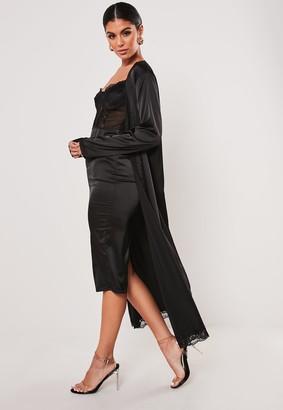 Missguided Black Satin Lace Midi Dress And Kimono Co Ord Set