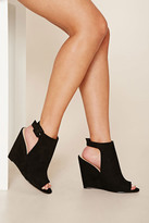 Forever 21 FOREVER 21+ Faux Suede Open-Toe Wedges
