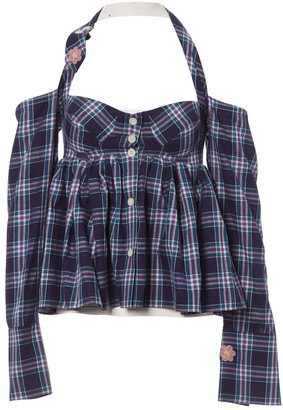 Natasha Zinko Blue Cotton Top for Women