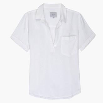 Rails Savannah White Short Sleeve Linen Shirt - L .
