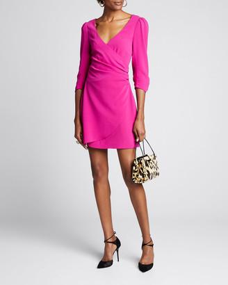 Cinq à Sept Theo 3/4-Sleeve Crepe Faux-Wrap Dress