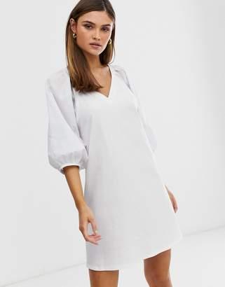 Asos Design DESIGN v neck mini dress with woven sleeves-White