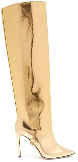 Jimmy Choo Hurley 100 Two Piece Knee High Leather Boots - Womens - Gold