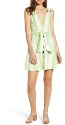 Moon River Tie Waist Button Up Minidress