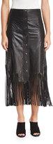 Haute Hippie Leather Fringe Midi Skirt, Black