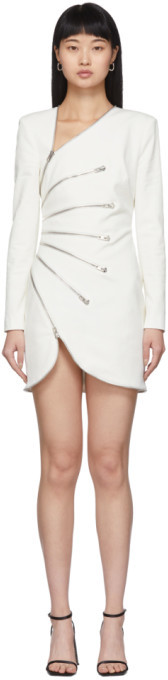 Alexander Wang White Sunburst Zip Dress