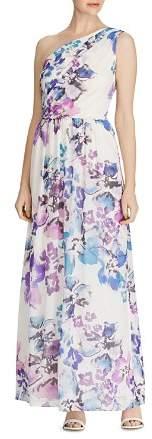 Ralph Lauren One-Shoulder Floral Georgette Gown