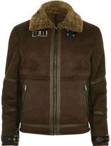 River Island Mens Dark Brown shearling jacket