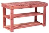 Household Essentials Cedar Shoe Rack & Bench - 2 Shelves - 6 Pairs - Natural Cedar
