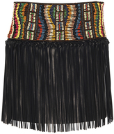 Valentino Black Beaded Leather Skirt