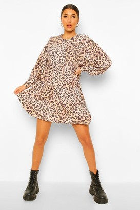 boohoo Leopard Print Collar Detail Smock Dress