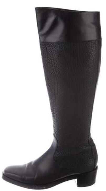Balenciaga Leather Knee-High Boots Black Leather Knee-High Boots