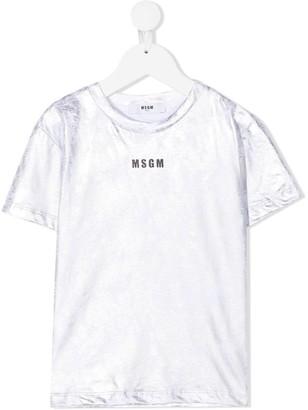 Msgm Kids metallic logo T-shirt