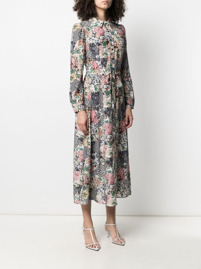 Thumbnail for your product : Saloni Patchwork Floral-Print Silk Dress