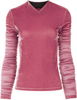 Y Project Pink Velvet Rouched Sleeve Top