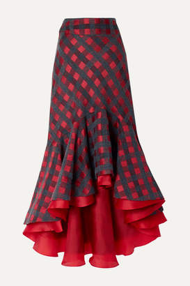 Silvia Tcherassi Dallas Asymmetric Ruffled Checked Tweed Midi Skirt - Red