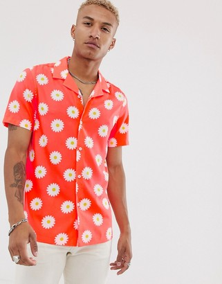 Asos Design DESIGN festival short sleeve relaxed shirt in coral with daisy print-Pink