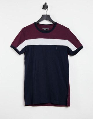 French Connection color blocked t-shirt in navy
