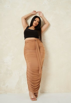 Missguided Plus Size Camel Slinky Ruched Midaxi Skirt