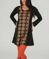 Aller Simplement Black & Brown Arabesque Scoop Neck Dress