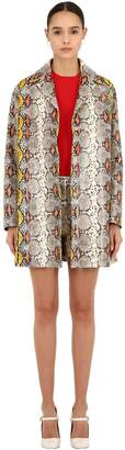 Rochas SNAKE PRINTED LEATHER COAT