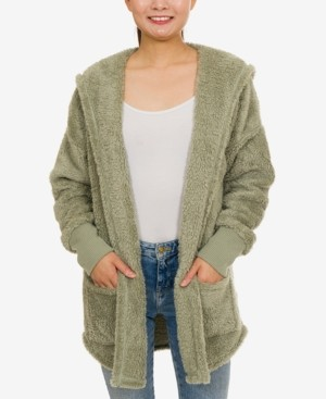 Hippie Rose Juniors Plush Hooded Cardigan