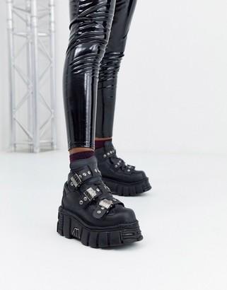 New Rock Vegan chunky hightop sneakers in black