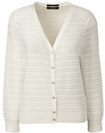 Lands' End Women's Petite 3/4 Sleeve Stripe Dress Cardigan Sweater-Eggshell White