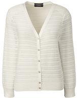 Lands' End Women's Tall 3/4 Sleeve Stripe Dress Cardigan Sweater-Eggshell White