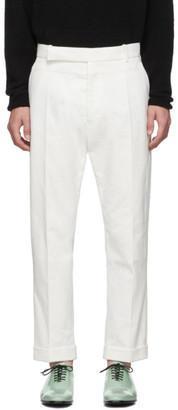 Haider Ackermann White Contrast Waistband Trousers