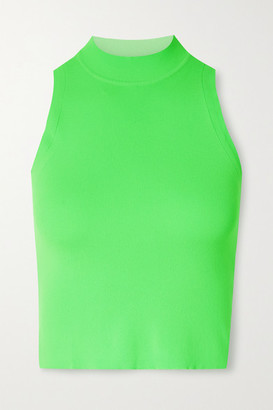 Adam Selman Sport Cropped Neon Stretch Tank - Green