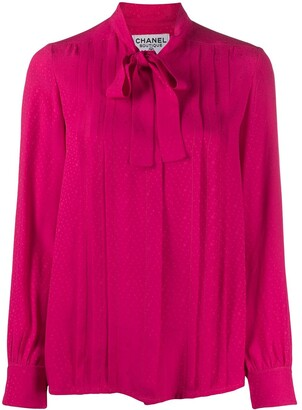 Chanel Pre Owned Pleated Pussy Bow Blouse