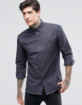 Farah Shirt With Flannel Gingham In Regular Fit Gray