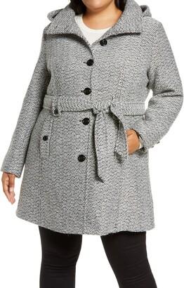 Gallery Belted Tweed Coat with Hood