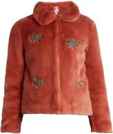 SHRIMPS Little Star embellished faux-fur jacket