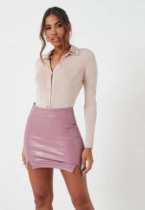 Missguided Beige Slinky Button Down Collar Long Sleeve Bodysuit